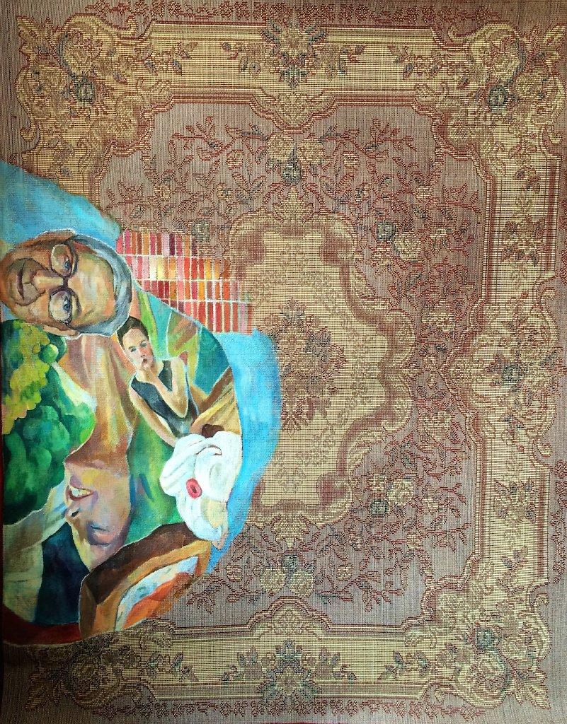 Cream, oil on carpet, 180 x 150 cm, 2014