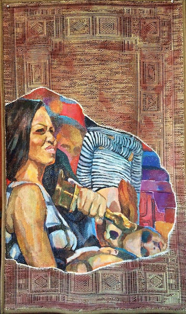 Michelle, oil on carpet, 100 x 70 cm, 2014