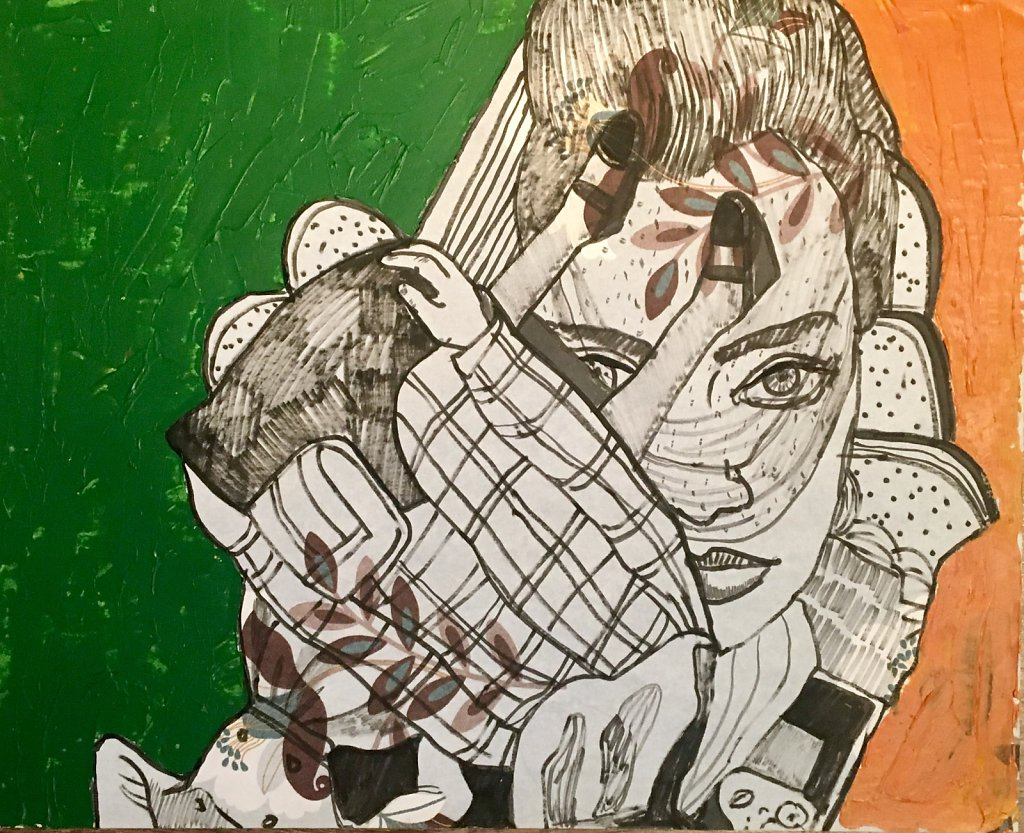 Malachite and amber, vinyl wallpaper, acrylic, Indian ink, 40 x 49 cm, 2017